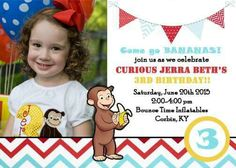 Curious george birthday invite | Mindy Smith Photography 2015