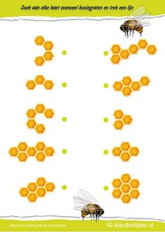 Zoek aan elke kant evenveel honingraten, kleuteridee.nl , thema bijen voor kleuters, Search on each side the same number of honeycombs, bees theme for preschool , free printable.