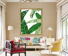 Banana Leaf Poster PRINTABLE FILE BG2  palm art palm by Dantell