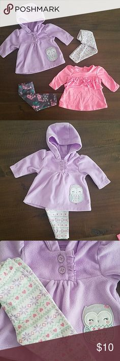 Newborn Baby girl clothes. 2 baby girl outfits worn once.  Pink shirt and cherry blossom leggings and purple hooded shirt with owl graphic and tribal print leggings.   No holes or stains. Great condition. Both outfits are size newborn. Matching Sets
