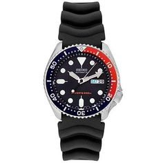 Shop for Seiko Men's 'Diver' Automatic Black Rubber Watch. Get free delivery On EVERYTHING* Overstock - Your Online Watches Store! Seiko Skx009, Seiko Men, Seiko Watches, Big Watches, Sport Watches, Cool Watches, Watches For Men, Wrist Watches, Seiko Diver