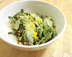 Fiddlehead Ferns with Pine Nuts, Pecorino, and Lemon Zest