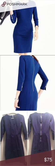 🎉HP 12/6🎉J.Crew Structured Knit Zip Dress Midnight blue -worn once &cleaned (presently has been folded/stored, needs a steam/press-see pic 3, but in like-new/EUC. Form-fitting & flattering w/heels or boots/tights. I have it in black, then also had to get blue bc I loved it so much! Made from signature knit fabric (known for its rubber-band-like elasticity + holds-you-in fit), perfect for days when you need to look sharp without sacrificing comfort-AKA every single day. Rayon/nylon with a…