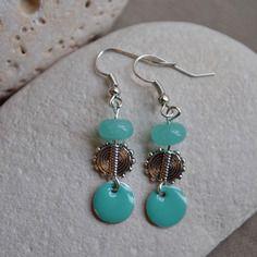 Boucles d'oreilles argent avec perles aigue marine et sequin turquoise