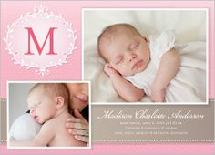 Cherished Monogram Girl 5x7 Stationery Card by Yours Truly | Shutterfly  I love having her blessing dress as an announcement picture.