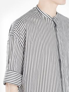 HAIDER ACKERMANN HAIDER ACKERMANN MEN'S BLACK AND WHITE STRIPED SHIRT. #haiderackermann #cloth #