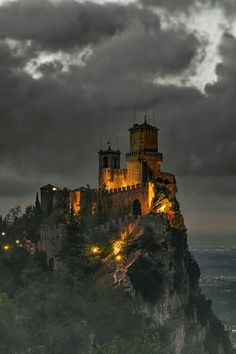 Fortress of Guaita, San Marino. Guaita is one of three peaks which overlooks the city of San Marino, the capital of San Marino. The Guaita fortress is the oldest of the three towers constructed on Monte Titano. It was built in the century.