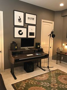 46 trendy home studio diy music offices Home Recording Studio Setup, Home Studio Setup, Music Studio Room, Studio Table, Home Office Setup, Studio Interior, Home Office Design, Studio Ideas, Interior Design