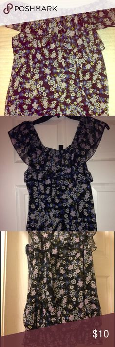 🌸Women's BCX Floral Top - Size L🌺 💥💥BCX Black with blue, white and pink flower top, can be worn off the shoulder too. Basically two tops in one. 100% polyester with double layer lining. Machine washable.🌺 BCX Tops Blouses