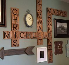 I came across Our Vintage Nest on Instagram and saw her gorgeous wall decor! Those large wood scrabble pieces look amazing. I am looking forward to making one with the names of all my family for our new house :-) She had TheBoardBrunette from Etsy make them  but I think it wouldn't be very hard …