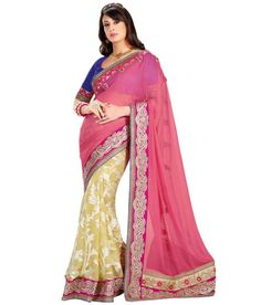ROSE PINK AND CREAM DESIGNER #SAREE Fabric: #Brocade, #Georgette Code: SMR1007