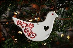 Mudbird Ceramic Christmas Red White Dove Ornament