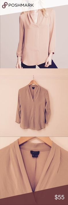 Theory Helona Silk Blouse The color is slightly deeper / richer beige than the first photo w/ model | 100% silk | Light wear and snagging reflected in price Theory Tops Blouses
