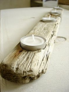 driftwood candleholder @Debbie Arruda Arruda Ware  dad needs to make this....for me