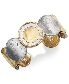Vermeil and Sterling Silver Lira Coin Cuff