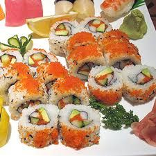 California Sushi Rolls with Wasabe and pickled ginger - can you say YUM!