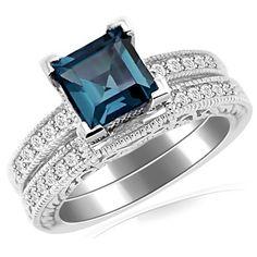 Princess London Blue Topaz & Diamond Engagement Ring Set