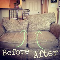 Project Randi: Easy Fix for Sagging Couch Back Cushions. Eric Phillips-Does this couch look familiar? Furniture Repair, Furniture Projects, Furniture Making, Furniture Makeover, Home Projects, Home Furniture, Refinished Furniture, Vintage Furniture, Painted Furniture