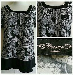 COCOMO WOMENS TOP BLOUSE LARGE  L BEAUTIFUL BLACK WHITE  SOFT STRETCH CASUAL