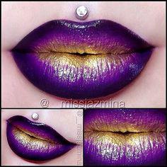 wearing #Sugarpill Goldilux metallic gold eyeshadow over @Melt Cosmetics By Starlight lipstick @JENNY