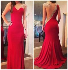 $149 27dress.com custom made 2014 New Fashion Sexy Gowns For Proms Sheer Back Scoop Crystal Beaded Red Mermaid Chiffon Long Evening Dresses
