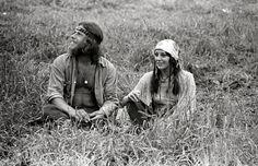 Hippie couple at Woodstock.