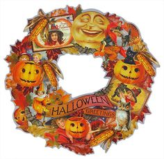 Enrich the look of your seasonal display with this unique piece! Wood die cut wreath features dozens of retro images of jack-o-lanterns, costumed imps, colorful foliage and spooky animals, reminiscent of turn of the century postcards. Retro Halloween, Vintage Halloween Decorations, Halloween Banner, Holidays Halloween, Halloween Crafts, Halloween Wreaths, Halloween Ideas, Happy Halloween, Halloween Labels