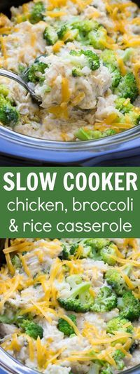 Best Ever Cheesy Slow Cooker Chicken Broccoli and Rice Casserole! Only 10 minute… Best Ever Cheesy Slow Cooker Chicken Broccoli and Rice Casserole! Only 10 minutes prep time! (And it's healthy! Crock Pot Slow Cooker, Crock Pot Cooking, Cooking Recipes, Cooking Time, Slow Cooker Meal Prep, Slow Cooker Casserole, Slow Cooker Rice Recipes, Beef Recipes, Casserole Recipes