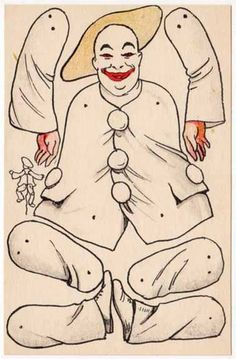Die Cut Cut Out Paper Doll Toy Postcard of A Clown | eBay