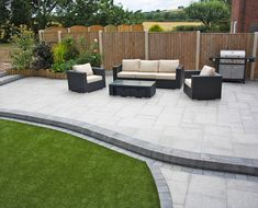 Stunning modern patio Birch Granite Paving Contemporary Garden Wicker Furniture Landscaping Garden Seating Installation completed by A. Back Garden Design, Backyard Garden Design, Backyard Patio, Backyard Landscaping, Landscaping Ideas, Backyard Ideas, Diy Patio, Cheap Patio Ideas, Back Garden Ideas