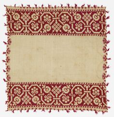 """This chalice cover is medium: silk embroidery on linen foundation technique: embroidered in counted double running and montenegrin cross stitches on plain weave.    This chalice cover is from Italy and dated """"17th century""""."""
