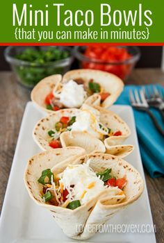 Mini Taco Bowls You Can Make In Minutes at Love From The Oven bean chilli, lettuce, cheese, chopped toms - with wedges or rice