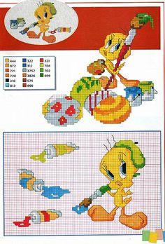 Cartoon Cross Stitch Patterns | Gallery Cross stitch pa… Children Cartoons Tweety painter…