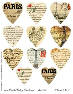 Instant Download  French Hearts Valentines by DigitalCollageSheets, $3.95