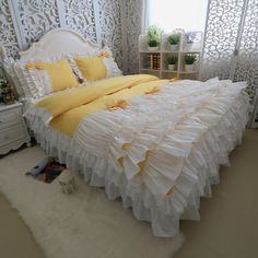 Find More Information about Yellow and white color bows 4pcs bedding sets cotton luxury princess cake Ruffles duvet cover wedding home best gift bedding kit,High Quality bedding kit,China gift box with clear lid Suppliers, Cheap bedding boy from Queen King Bedding Set  on Aliexpress.com