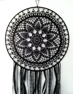 Black Magic BOHO Dreamcatcher ~ Crochet Doily, Lace, Feathers by CleanSl8 on Etsy https://www.etsy.com/listing/189181876/black-magic-boho-dreamcatcher-crochet
