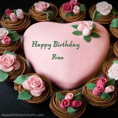 Fran Happy Bday Cake Pink Birthday Cakes Friends Name