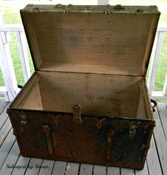 I was given this vintage, rusted metal trunk (for free) from one of my co-workers late last summer. He had it sitting around and, knowing him, the challenge thi…