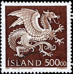 Dragon, a guardian spirit in the coat of arms of Iceland, designed by Þröstur Magnússon, engraved by Martin Mörck, and issued by Iceland o.