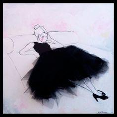 Oil on canvas.Size 75 x 75 cmWith textile application, tulle/ Lisa W Breitholtz