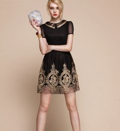 I WANT!!! Baroque royal gold embroidery dress - folk russian theme french laces small black coctail dress, new year party elegant christmas tunique on Etsy, $119.00