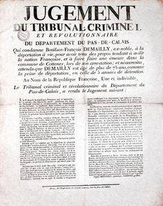 """Texte imprimé qui commence par """"Jugement du tribunal criminel et révolutionnaire du département du Pas-de-Calais""""."""