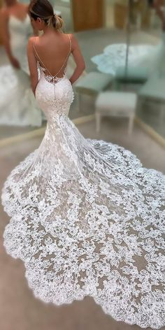sexy wedding dresses ideas mermaid lace low back spaghetti straps enzoani #weddinggowns
