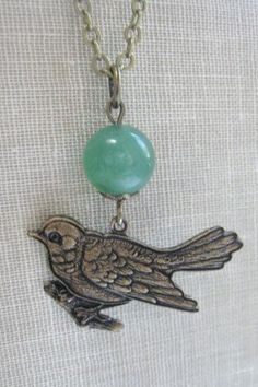 Little bird necklace green adventurine stone