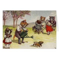 Cats on the Playground Card - vintage gifts retro ideas cyo
