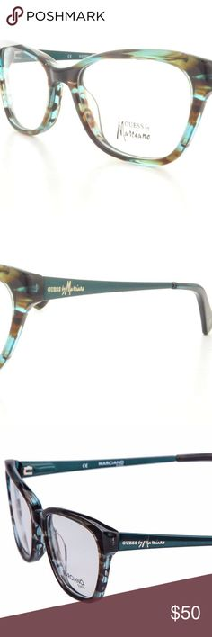 Guess by Marciano Eyewear GM 201 Brand New Guess by Marciano Eyewear- Brown and blue tortoise on the plastic frame front with teal metal temples. Guess by Marciano Accessories Glasses
