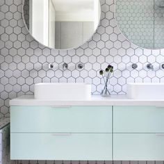 Installing a vanity is by far one of the easiest ways to bringing color into the bathroom.