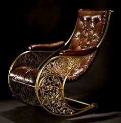 steampunkboardgame: Winfield rocking chair what a great steampunk look it has! I want this chair—I want it because reasons. Funky Furniture, Unique Furniture, Vintage Furniture, Furniture Design, Steampunk Furniture, Steampunk Bedroom, Steampunk House, Oriental Furniture, Vintage Sideboard
