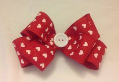 Red With White Hearts Hair Bow by mlmissal on Etsy, $6.00