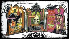 FRIENDS in ART: A Spooky Tombstone Triptych for Retro Cafe Art Gallery DT with @graphic45 papers.